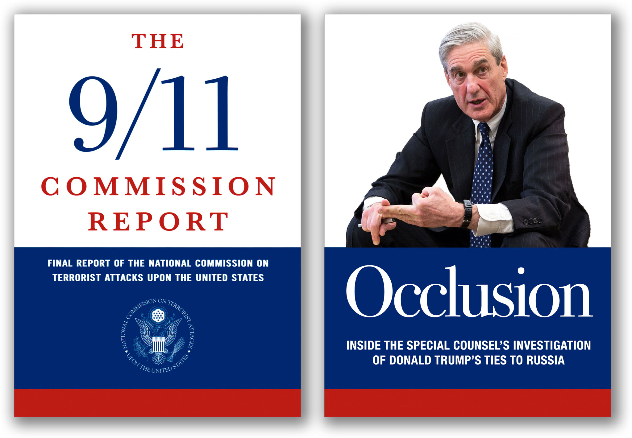 9/11 report and Mueller investigation book covers.